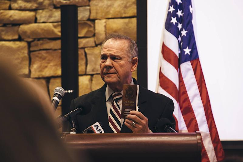 Republican candidate for US Senate Judge Roy Moore speaks during a mid-Alabama Republican Club's Veterans Day event: Wes Frazer/Getty Images