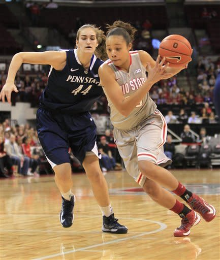 Ohio State's Martina Ellerbe, right, drives the lane against Penn State's Tori Waldner during the first half of an NCAA college basketball game on Sunday, Jan. 27, 2013, in Columbus, Ohio. (AP Photo/Jay LaPrete)