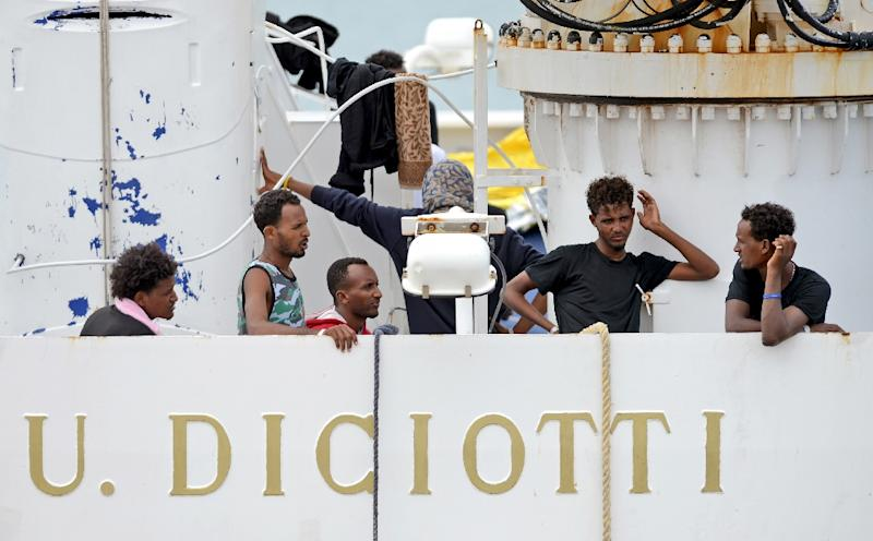 The migrants were stuck at sea for five days (AFP Photo/Giovanni ISOLINO)