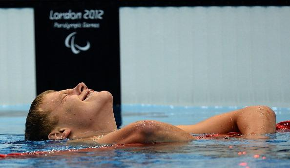 Jon Margeir Sverrisson of Iceland celebrates after winning the gold in the Men's 200m Freestyle - S14 final on day 4 of the London 2012 Paralympic Games at Aquatics Centre on September 2, 2012 in London, England. (Photo by Christopher Lee/Getty Images)