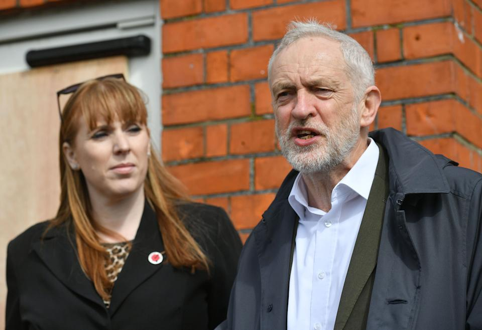 Labour leader Jeremy Corbyn with Shadow education secretary Angela Rayner speaking outside The Old Pinehurst Library in Swindon about Labour�s fight against cuts to Children and Young Peoples Services.