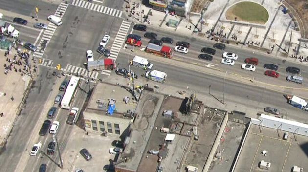 Aerial view of thescene of Monday's incident in central Toronto.