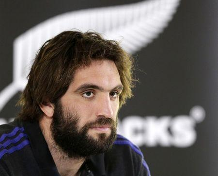 Rugby Union - New Zealand Press Conference - Pennyhill Park, Bagshot, Surrey - 27/10/15 Sam Whitelock of New Zealand during a press conference Action Images via Reuters / Henry Browne