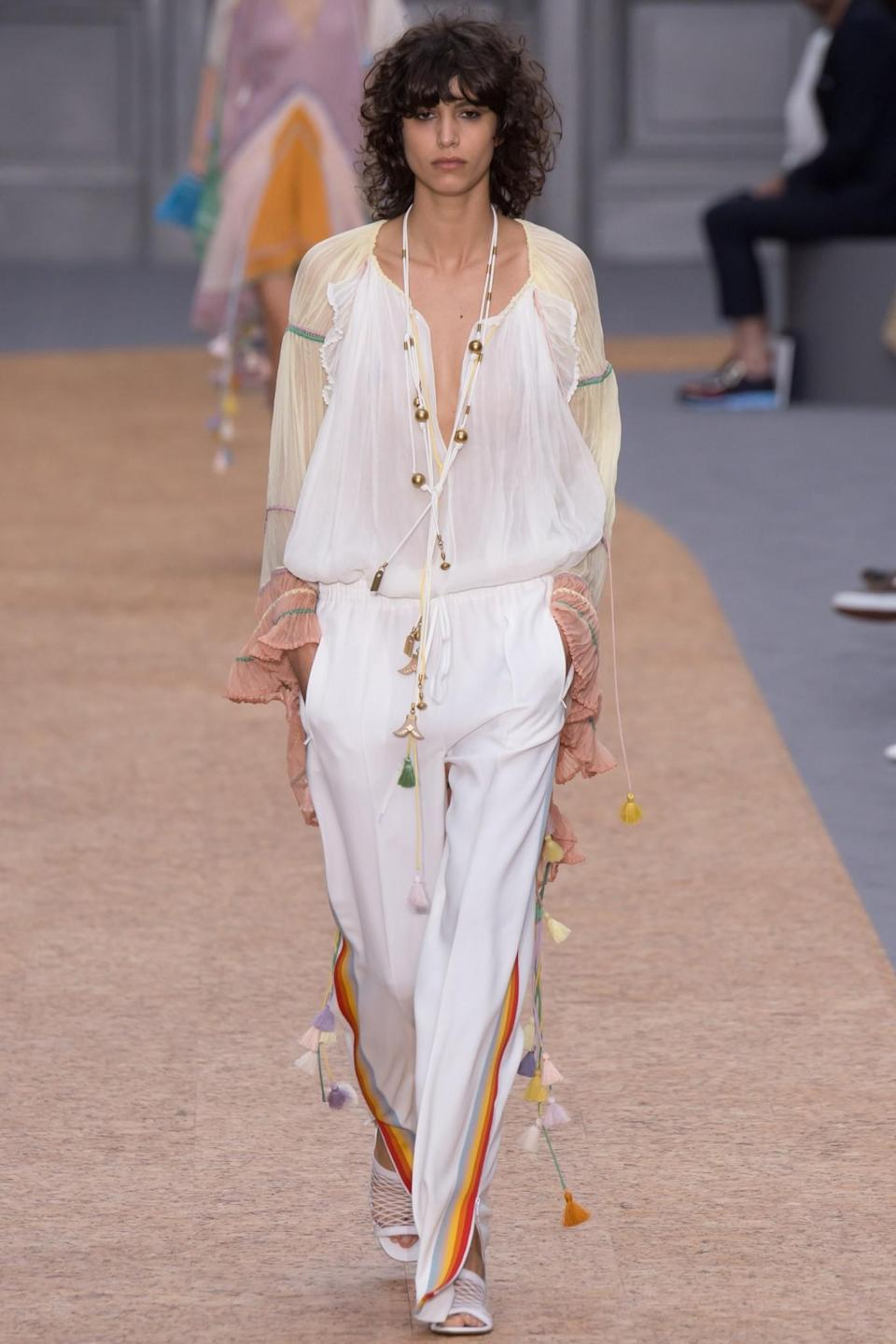 <p>Model Mica Argañaraz looks cool in Chloé's take on sports casual. (Photo: Getty Images) </p>