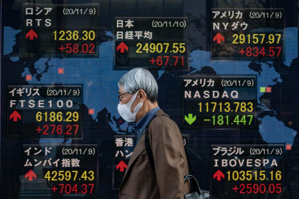 A man walks past an electronic board displaying the Nikkei 225 index in Tokyo, Japan. Photo: Philip Fong/AFP via Getty Images