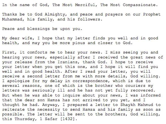 A translated excerpt from bin Laden's letter to his wife. Photo: Office of the Director of National Intelligence