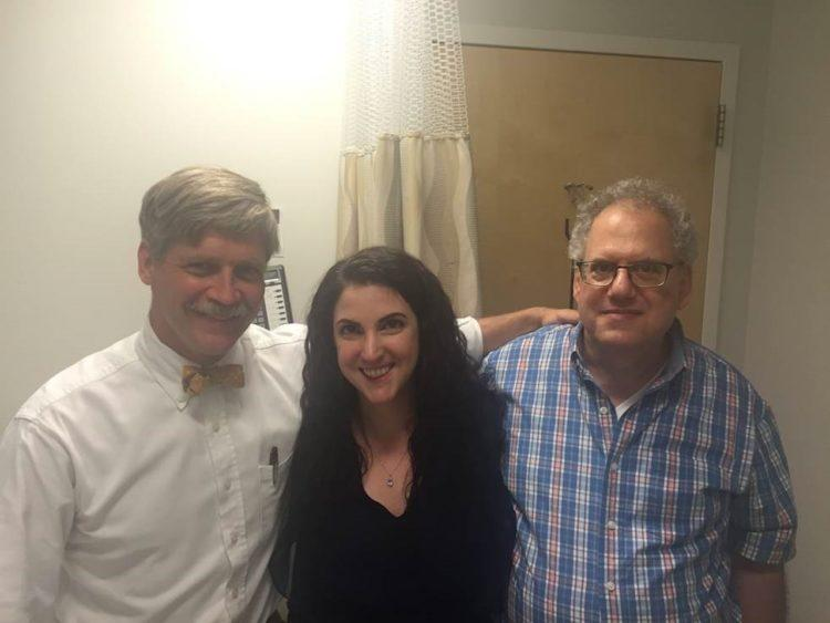 Endometriosis patient Jenna Zraick with her father (right) and doctor, Dr. Malcolm Mackenzie (left)
