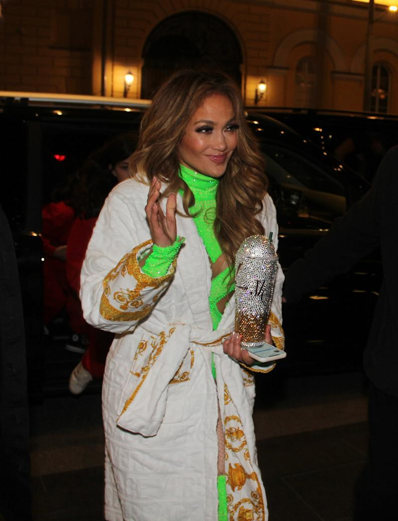 Jennifer Lopez Matched Her Robe To Her Bedazzled Cup