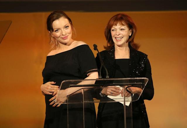 Francesca Eastwood and her mom, Frances Fisher, speak onstage at the 28th Annual Environmental Media Awards on May 22 in Beverly Hills. (Photo: Phillip Faraone/Getty Images for Environmental Media Association)