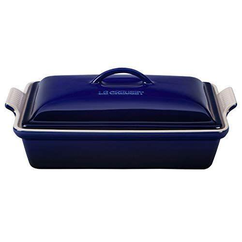 """<p><strong>Le Creuset</strong></p><p>amazon.com</p><p><strong>$114.95</strong></p><p><a href=""""https://www.amazon.com/dp/B00GOEN684?tag=syn-yahoo-20&ascsubtag=%5Bartid%7C1782.g.34415852%5Bsrc%7Cyahoo-us"""" rel=""""nofollow noopener"""" target=""""_blank"""" data-ylk=""""slk:BUY NOW"""" class=""""link rapid-noclick-resp"""">BUY NOW</a></p><p>The famed colorful French cookware line (you've heard of their <a href=""""https://www.delish.com/food/a51858/things-you-should-know-before-buying-le-creuset/"""" rel=""""nofollow noopener"""" target=""""_blank"""" data-ylk=""""slk:beloved Dutch ovens"""" class=""""link rapid-noclick-resp"""">beloved Dutch ovens</a>, right?) also makes a thermal resistant casserole dish—with a lid for easy cooking.</p>"""