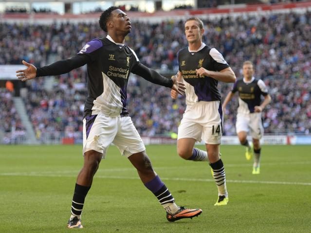 "Liverpool's Daniel Sturridge (L) celebrates scoring against Sunderland during their English Premier League soccer match at The Stadium of Light in Sunderland, northern England, September 29, 2013. REUTERS/Nigel Roddis (BRITAIN - Tags: SPORT SOCCER) FOR EDITORIAL USE ONLY. NOT FOR SALE FOR MARKETING OR ADVERTISING CAMPAIGNS. NO USE WITH UNAUTHORIZED AUDIO, VIDEO, DATA, FIXTURE LISTS, CLUB/LEAGUE LOGOS OR ""LIVE"" SERVICES. ONLINE IN-MATCH USE LIMITED TO 45 IMAGES, NO VIDEO EMULATION. NO USE IN BETTING, GAMES OR SINGLE CLUB/LEAGUE/PLAYER PUBLICATIONS"