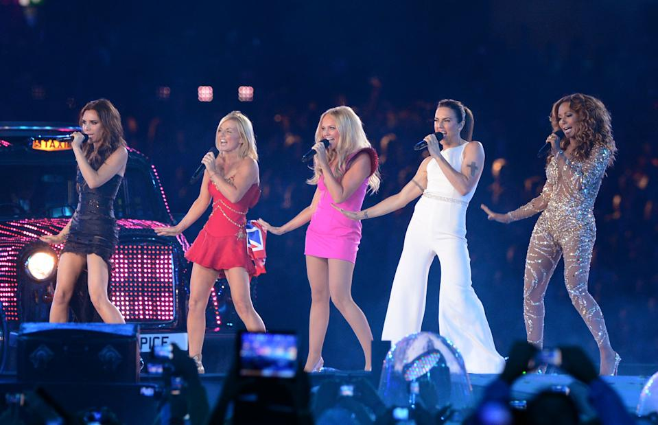 The Spice Girls Victoria Beckham, Geri Halliwell, Emma Bunton, Melanie Chisholm, Melanie Brown perform during the closing ceremony of the London 2012 Olympic games, London