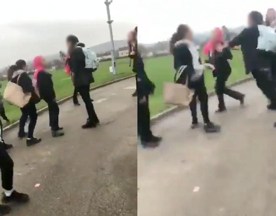A Syrian schoolgirl was attacked in a viral video shot at her U.K. school. (Screenshots: Twitter/<em>Muslim Daily</em>)