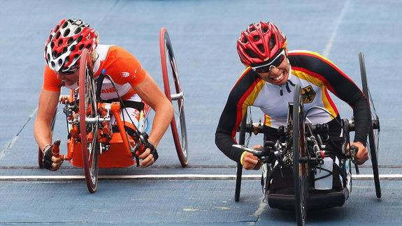 Wheelchair racing technology has improved dramatically. Here Andrea Eskau of Germany competes in the women's Road Race on Day 7 of the 2008 Paralympic Games