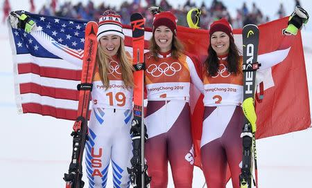 Alpine skiing-Vonn leads Mowinckel after combined downhill, Shiffrin lurks