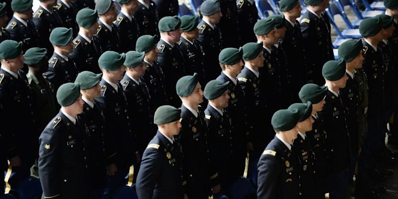Soldiers assigned to the U.S. Army John F. Kennedy Special Warfare Center and School stand at attention during a Regimental First Formation at the Crown Arena in Fayetteville, North Carolina January 16, 2020