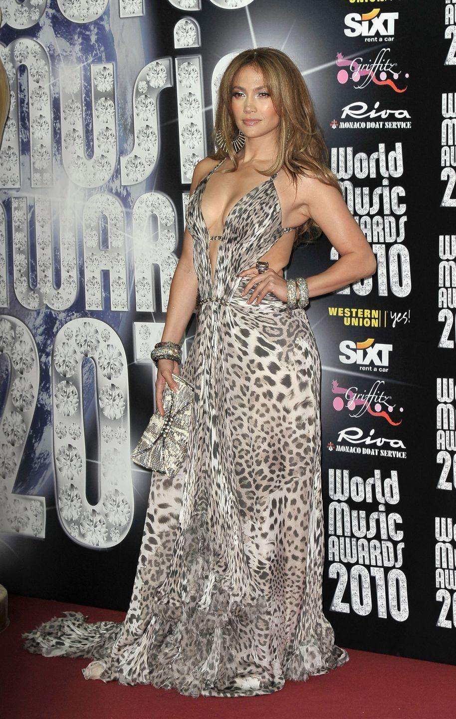 <p>More! Animal! Prints! She continues the theme with a deep-V cheetah dress and statement jewelry to the World Music Awards in Monaco, where she also performed.</p>