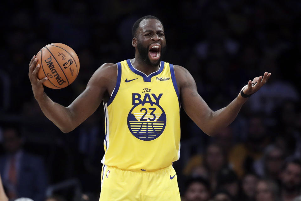 Golden State Warriors' Draymond Green questions a call during the second half of the team's NBA basketball game against the Los Angeles Lakers on Wednesday, Nov. 13, 2019, in Los Angeles. (AP Photo/Marcio Jose Sanchez)