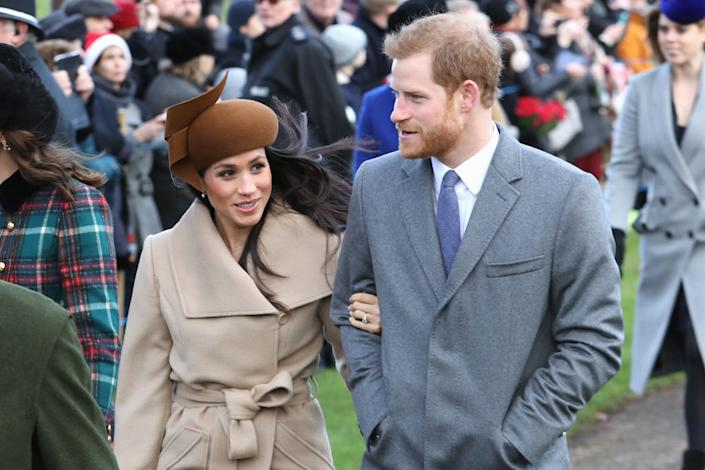 Meghan Markle and Prince Harry attend Christmas Day Church service at Church of St Mary Magdalene on December 25, 2017 in King's Lynn, England. | Chris Jackson—Getty Images