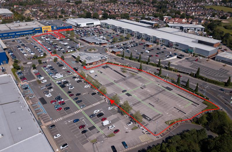 Huge queues form at Ikea in Nottingham following new guidelines for essential retailers earlier this month. (SWNS)