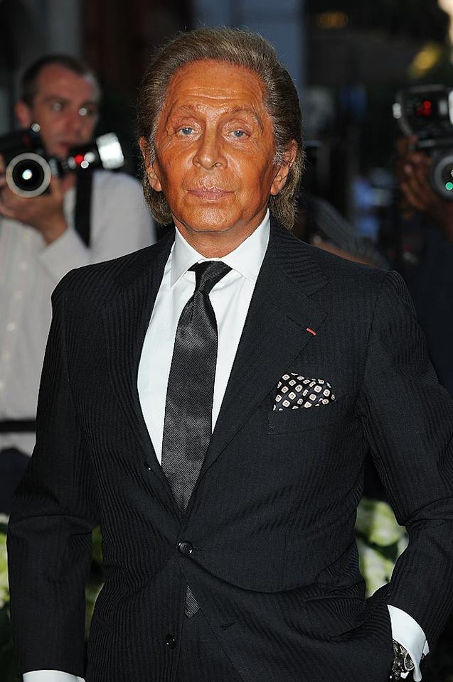"The designer known simply as Valentino is genius at making women like Gwyneth Paltrow and Uma Thurman dazzle on the red carpet in his couture gowns. Unfortunately, he seems to need some help when it comes to making his skin look natural. Ferdaus Shamim/<a href=""http://www.wireimage.com"" target=""new"">WireImage.com</a> - June 23, 2010"