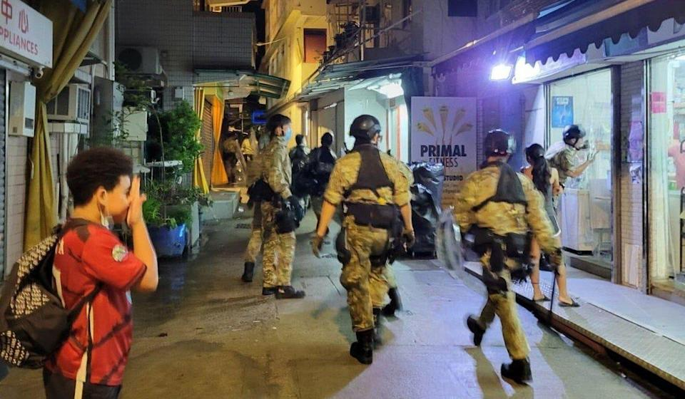 Police officers are seen on Lamma Island in a photo shared by residents after the suspect's arrest. Photo: Handout