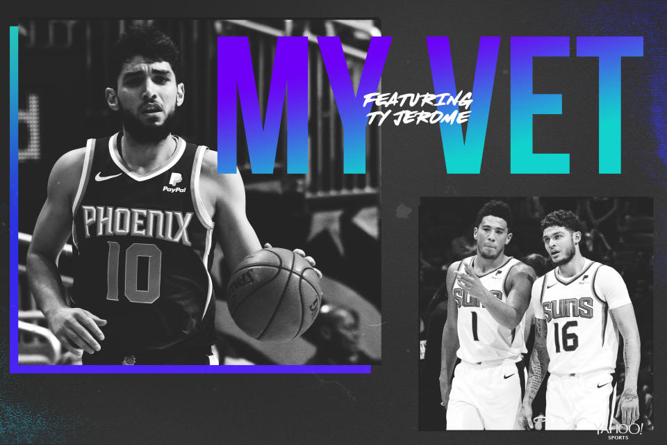 Suns rookie Ty Jerome credits teammates Devin Booker and Tyler Johnson for their mentorship. (Yahoo Sports graphic)