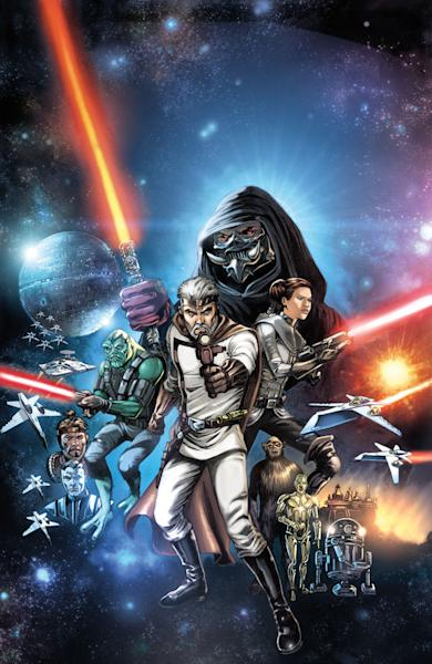 """This comic book cover image provided by Dark Horse Comics shows characters in """"The Star Wars,"""" from the eight-issue mini-series, a 1974 first draft by George Lucas that turned into the popular film. Now, starting Wednesday, Sept. 4, 2013, Dark Horse Comics is bringing the original script to life as an eight-issue mini-series — with Lucas' blessing — giving fans a different take on the characters. (AP Photo/Dark Horse Comics)"""