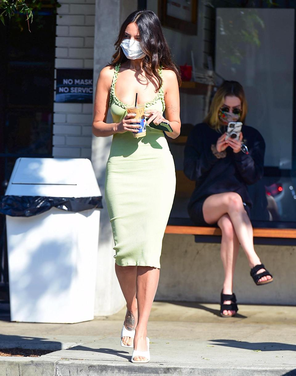 <p>Eiza González looks stunning in a lime green dress while out on a coffee run on Wednesday in L.A.</p>