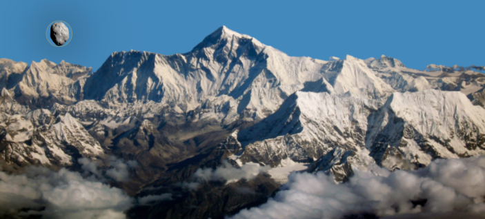 An artistic rendering creates an approximate landscape of 2001 FO32 with Mount Everest in the background. Shape, color and texture of the asteroid are imagined.  / Credit: Space Reference