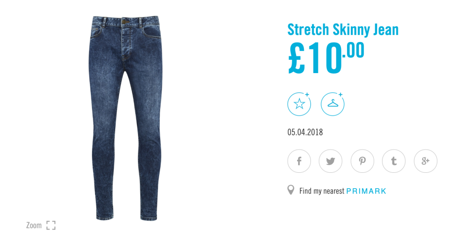 A pair of men's skinny jeans retails for just £10 on the Primark website. [Photo: Primark]