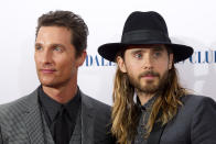 Matthew McConaughey and Jared Leto (right) attending the premiere of Dallas Buyers Club, at the Washington hotel in Mayfair, London.