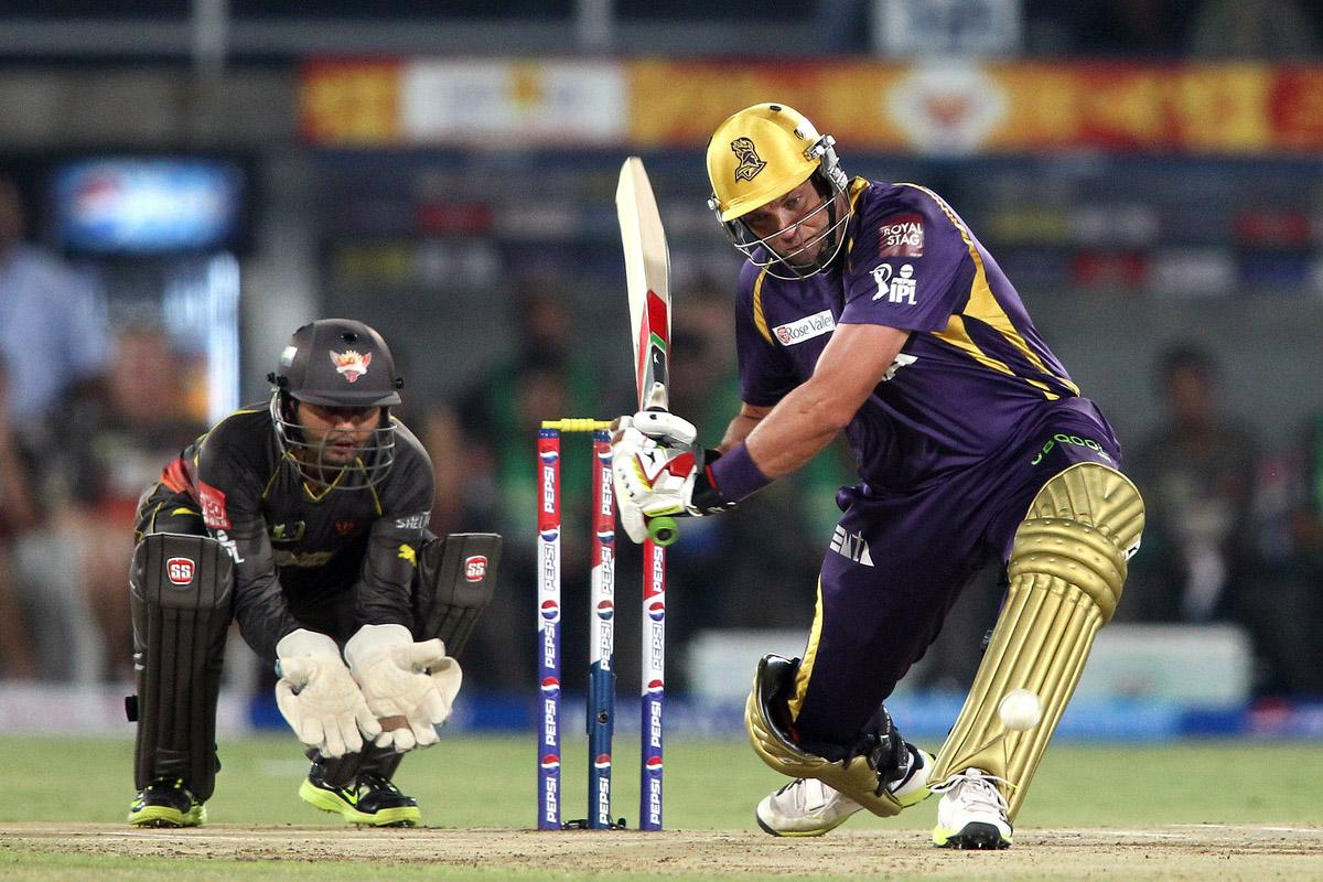 Jacques Kallis of Kolkata Knight Riders looks to sweep a delivery during match 72 of the Pepsi Indian Premier League between The Sunrisers Hyderabad and The Kolkata Knight Riders held at the Rajiv Gandhi International Stadium, Hyderabad on the 19th May 2013. (BCCI)
