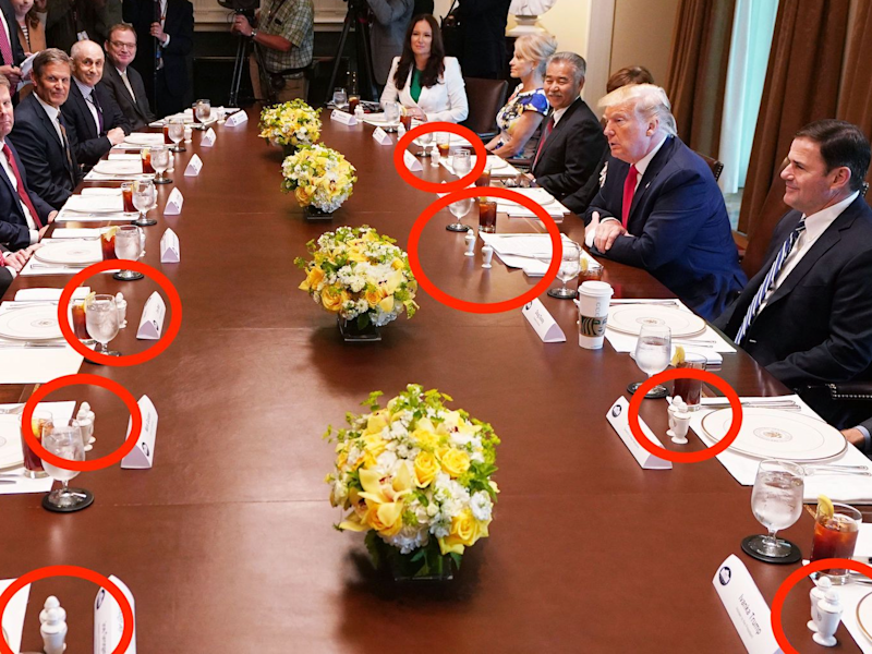 US President Donald Trump (R-center) speaks during a working lunch with governors on workforce freedom and mobility in the Cabinet Room of the White House in Washington, DC on June 13, 2019.