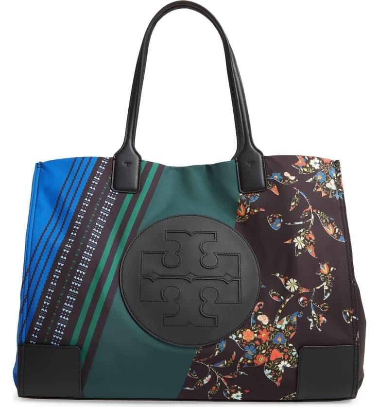 """Tory Burch's patchwork-printed tote is a modern take on the popular Ella tote, which is a constant best-seller in black, navy or canvas. We're partial to this mix-and-match one since it would make monochromatic outfits pop. $228, Nordstrom. <a href=""""https://shop.nordstrom.com/s/tory-burch-ella-mixed-print-tote/5387797?"""">Get it now!</a>"""