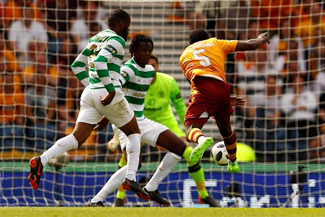 Soccer Football - Scottish Cup Final - Celtic vs Motherwell - Hampden Park, Glasgow, Britain - May 19, 2018 Motherwell's Gael Bigirimana shoots at goal Action Images via Reuters/Jason Cairnduff