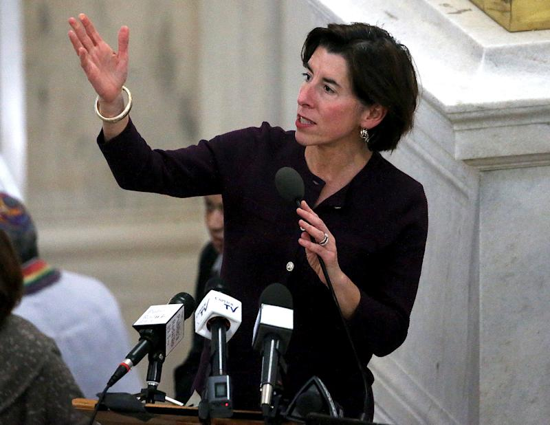 PROVIDENCE, RI - JANUARY 7: Rhode Island Governor Gina M. Raimondo speaks during an Interfaith Coalition to Reduce Poverty Vigil at the Rhode Island State House in Providence, RI on Jan. 7, 2020. (Photo by Barry Chin/The Boston Globe via Getty Images)