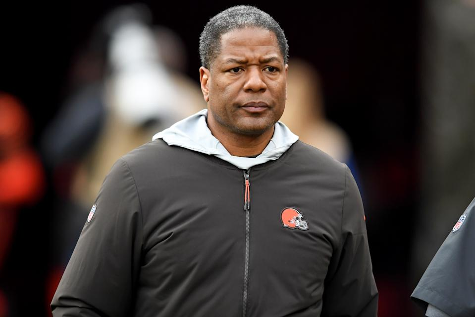 CLEVELAND, OH - DECEMBER 8, 2019: Defensive coordinator Steve Wilks of the Cleveland Browns walks onto the field at halftime of a game against the Cincinnati Bengals on December 8, 2019 at FirstEnergy Stadium in Cleveland, Ohio. Cleveland won 27-19. (Photo by: 2019 Nick Cammett/Diamond Images via Getty Images)