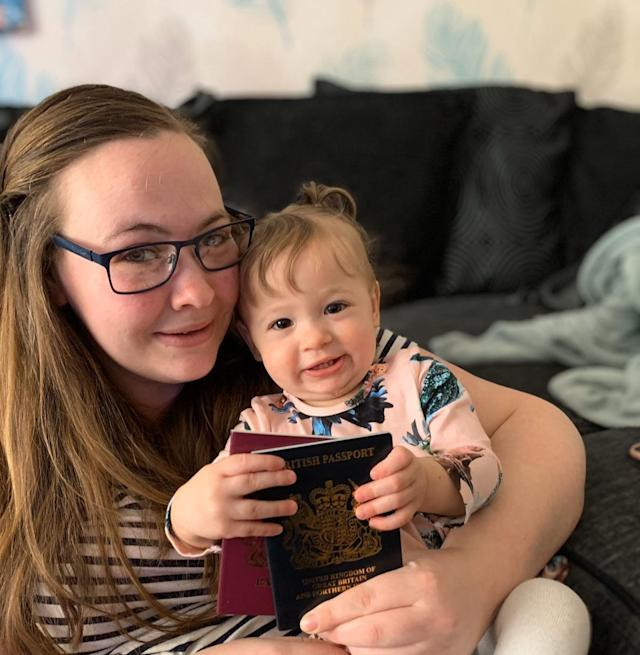 Danielle Hugman, 25, applied for Willow-Rose's passport in February and it arrived at her home in Lowerstock, Suffolk, on Thursday. (SWNS)