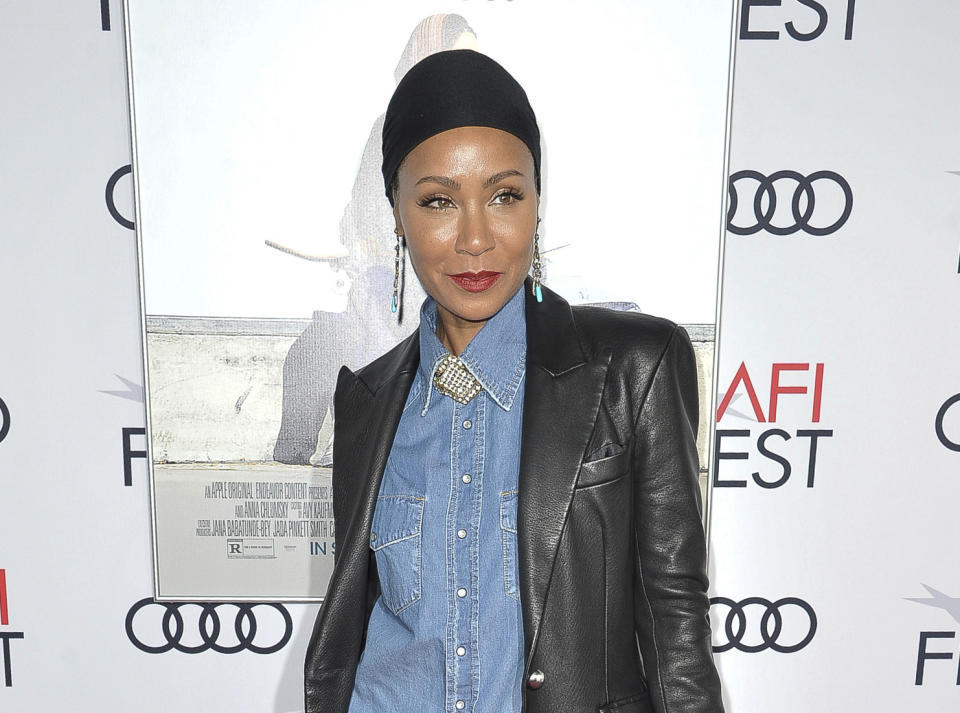 "Jada Pinkett Smith at the premiere of ""Hala"" at 2019 AFI Fest in Los Angeles. Pinkett Smith says she's very comfortable sharing personal information on her show ""Red Table Talk,"" and she says she expects to do a lot more in future episodes. (Photo by Richard Shotwell/Invision/AP, File)"
