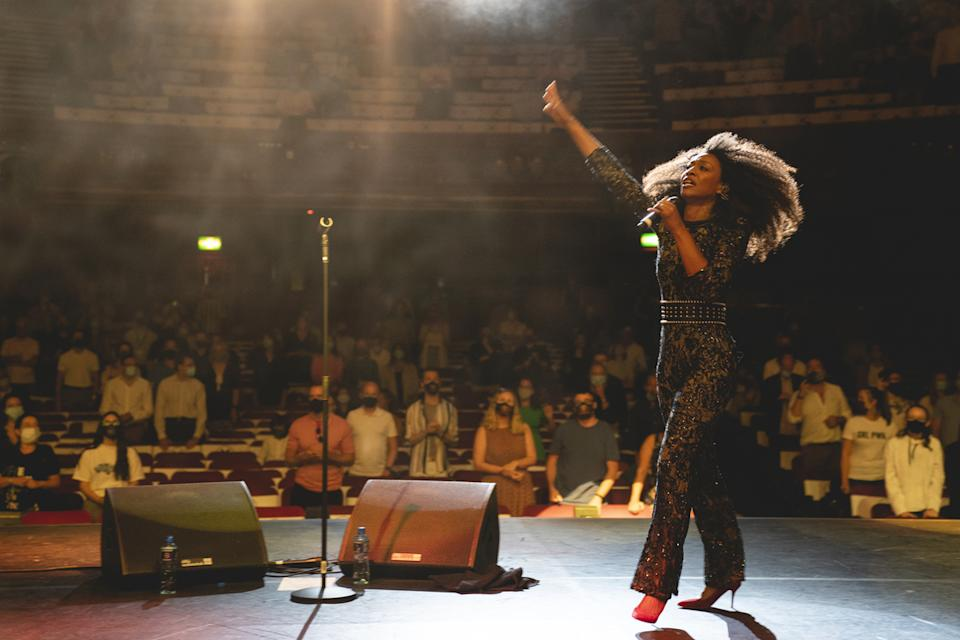 A socially distant audience watched Beverley Knight perform at the Palladium on Thursday evening in one of the first post-lockdown theatre shows in the UK (PA)