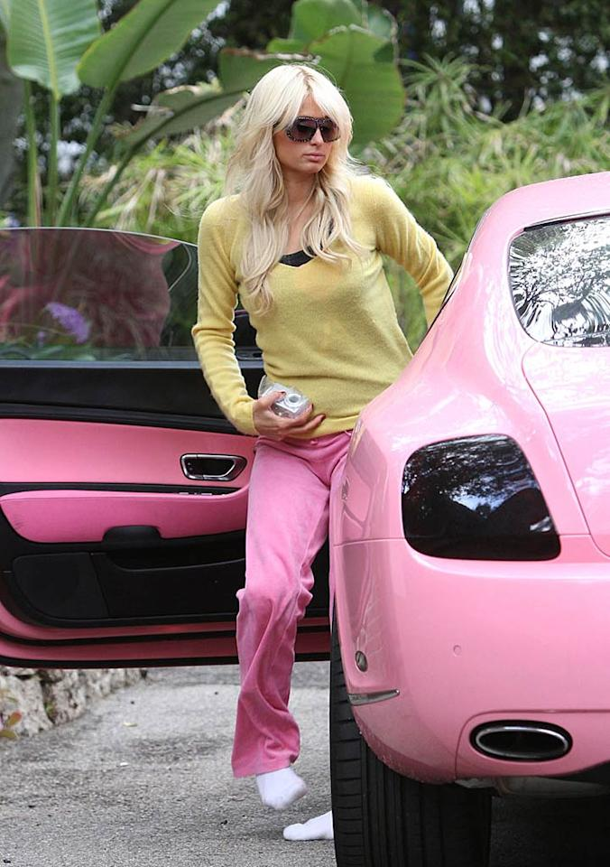 "A shoeless Paris Hilton arrived at her sister Nicky's house on Tuesday in her pink Bentley. But the hotel heiress -- who turns 30 on February 17 -- apparently has a new brightly-colored vehicle to ride around L.A. in. Her BF Cy Waits' birthday gift to her was a $375K yellow Lexus LFA! <a href=""http://www.infdaily.com"" target=""new"">INFDaily.com</a> - February 15, 2011"