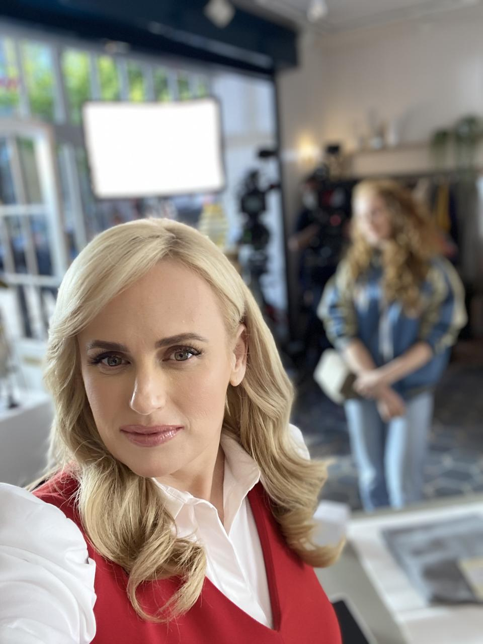 Rebel Wilson in a red and white outfit in Afterpay ad