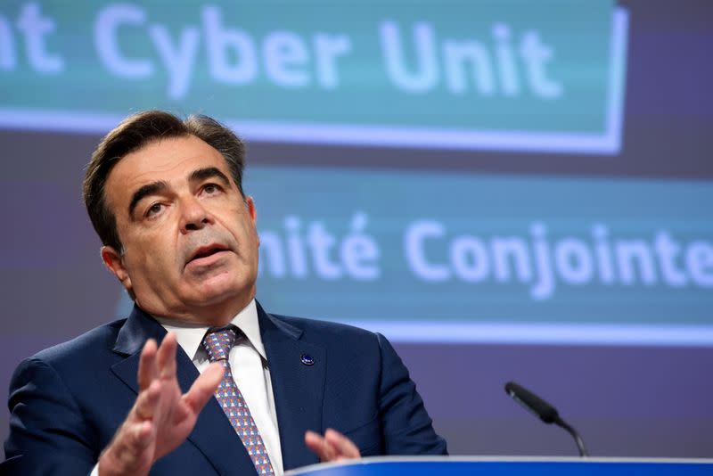 News conference on security and cybersecurity strategy at the EU headquarters in Brussels