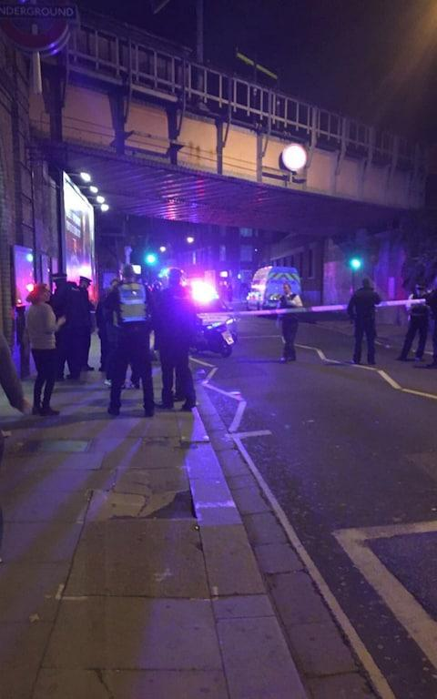 police at the scene outside Parsons Green Tube station in London, - Credit: PA / @CyrusDailami