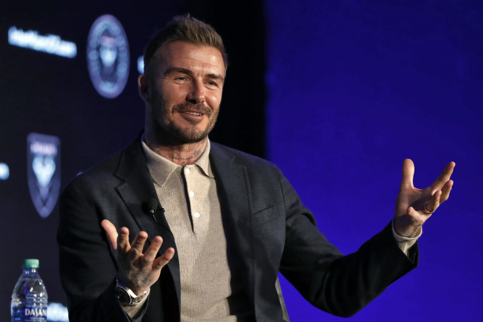 "FILE - David Beckham, Inter Miami CF co-owner, is interviewed during the Major League Soccer 25th Season kickoff event in New York, in this Wednesday, Feb. 26, 2020, file photo. David Beckham bristled when asked whether Phil Neville's was hired as Inter Miami coach because they're buddies. ""Of course, people are always going to turn around and say, oh, it's because he's your friend. It's nothing to do with him being my friend,"" Beckham said Friday, Jan. 22, 2021. (AP Photo/Richard Drew, FIler)"