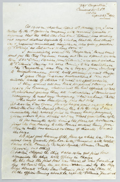 "In this March. 13, 2012 photo provided by Bonhams Auction House, the handwritten report penned by Capt. Arthur Rostron of the R.M.S. Carpathia, that detailed the rescue of the R.M.S. Titanic's survivors after the ship hit an iceberg on April 15, 1912, is shown. The report will be among the other Titanic related artifacts put up on the block by Bonhams during their ""R.M.S. Titanic: 100 Years of Fact and Fiction"" auction in New York on Sunday, April 15, 2012. (AP Photo/Bonhams Auction House)"