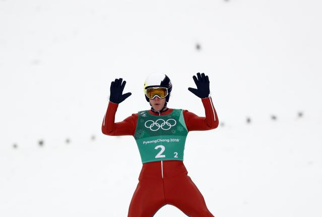 Nordic Combined Events - Pyeongchang 2018 Winter Olympics - Men's Team Gundersen LH Competition - Alpensia Ski Jumping Centre - Pyeongchang, South Korea - February 22, 2018 - Ben Berend of the U.S. reacts. REUTERS/Kai Pfaffenbach