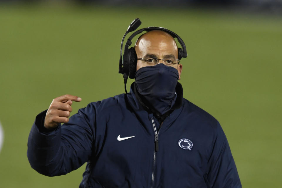 Penn State head coach James Franklin talks with an offical against Ohio State during an NCAA college football game in State College, Pa., on Saturday, Oct. 31, 2020. Ohio State defeated Penn State 38-25. (AP Photo/Barry Reeger)