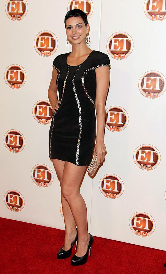 """At the """"Entertainment Tonight"""" Emmy post-show party, """"V"""" baddie Morena Baccarin turned heads in a bedazzled LBD, black platform pumps, and trendy pixie cut. Todd Williamson/<a href=""""http://www.wireimage.com"""" target=""""new"""">WireImage.com</a> - August 29, 2010"""